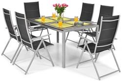 Meble ogrodowe składane aluminiowe MODENA Stół i 6 krzeseł - Czarne
