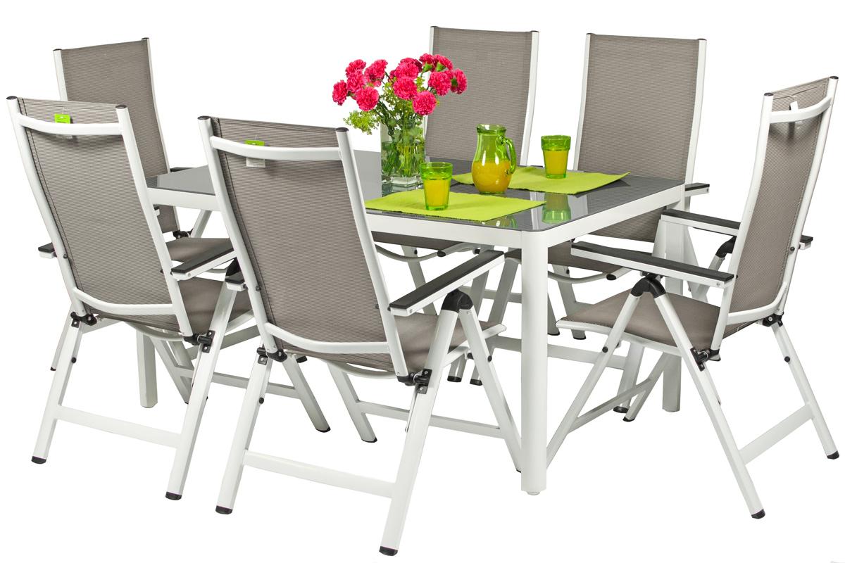 Oryginał Zestaw ogrodowy aluminiowy VERONA VETRO 6+1 - biały CT67