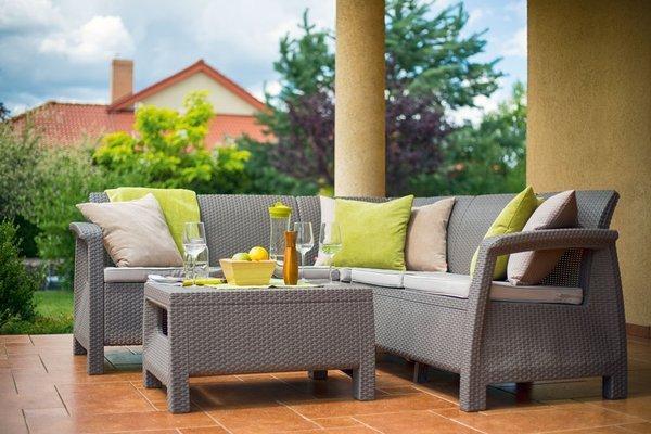 Duży narożnik ogrodowy CORFU Relax + stoliczek kawowy - cappuccino