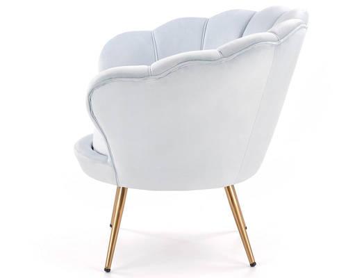 Fotel Glamour MUSZLA AMORINO ze złotymi nogami - jasny niebieski