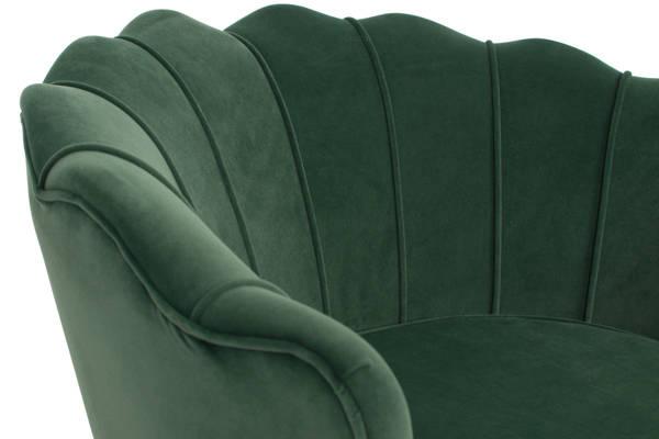 Fotel tapicerowany MUSZLA AMORINITO - ciemna zieleń