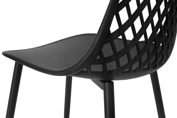 Krzesło ażurowe do jadalni SIENA - czarne