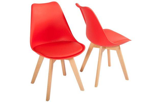 Krzesło do jadalni DSW DAW Eames BOLONIA - czerwone z poduszką