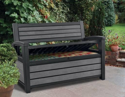 Ławka ogrodowa ze skrzynią HUDSON BENCH 227 l - grafit