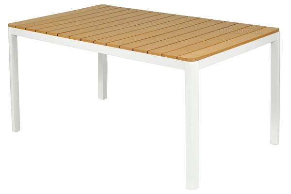 Meble ogrodowe aluminiowe VERONA LEGNO Stół i 6 krzeseł  - białe