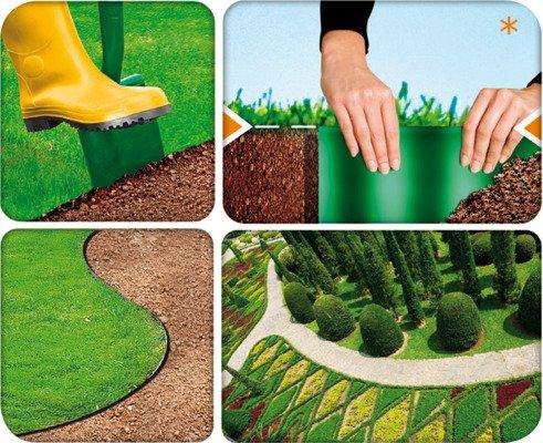 Obrzeże ogrodowe 15 cm x 9 m - ciemnozielone