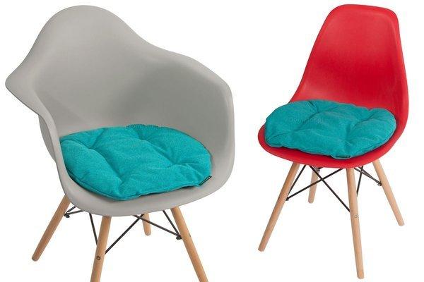 Poduszka na krzesło KAMILA 43 x 40 cm - turkusowa