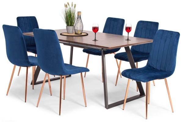 Stół PORTLAND (200/160x90) i 6 krzeseł SOFIA - zestaw do salonu - brąz + niebieski