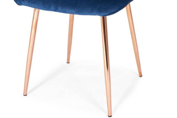 Stół PORTLAND (200/160x90) i 8 krzeseł SOFIA - komplet do salonu - brąz + niebieski