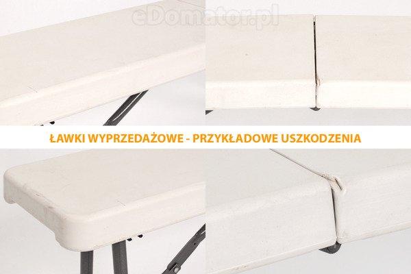 WYPRZEDAŻ - ŁAWKA CATERINGOWA Składana  dł. 122 cm  Biała