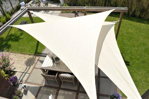 Żagiel wodoodporny DREAMSAIL trójkąt 5,0 x 5,0 x 5,0 m - Kremowy