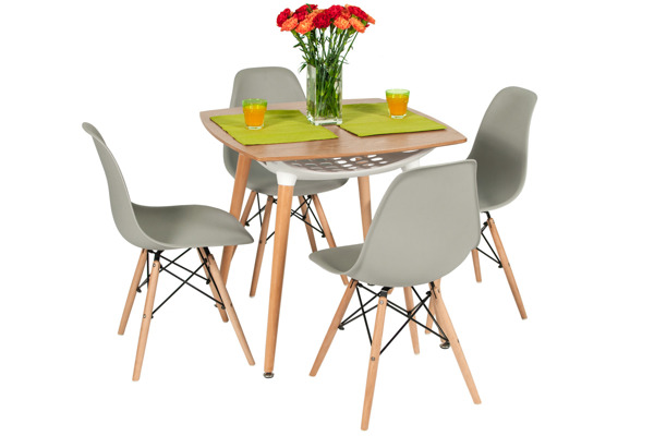 Zestaw mebli do jadalni MEDIOLAN stół i 4 krzesła - brązowy