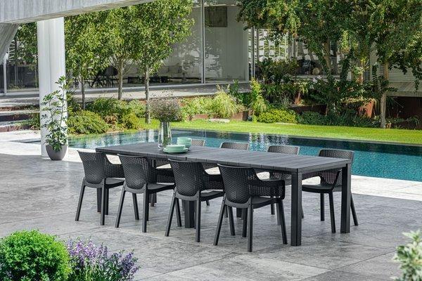 Zestaw ogrodowy 10-osobowy EVA + stół JULIE DOUBLE - grafitowy